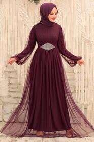 Plum Color Hijab Evening Dress 54230MU - Thumbnail