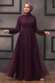 Plum Color Hijab Evening Dress 5514MU - Thumbnail