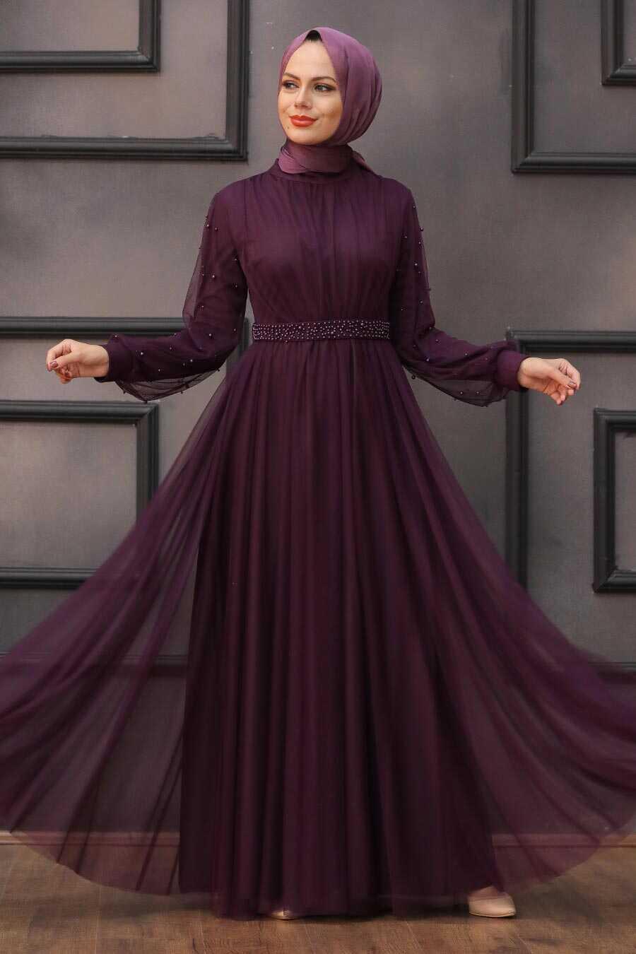 Plum Color Hijab Evening Dress 5514MU