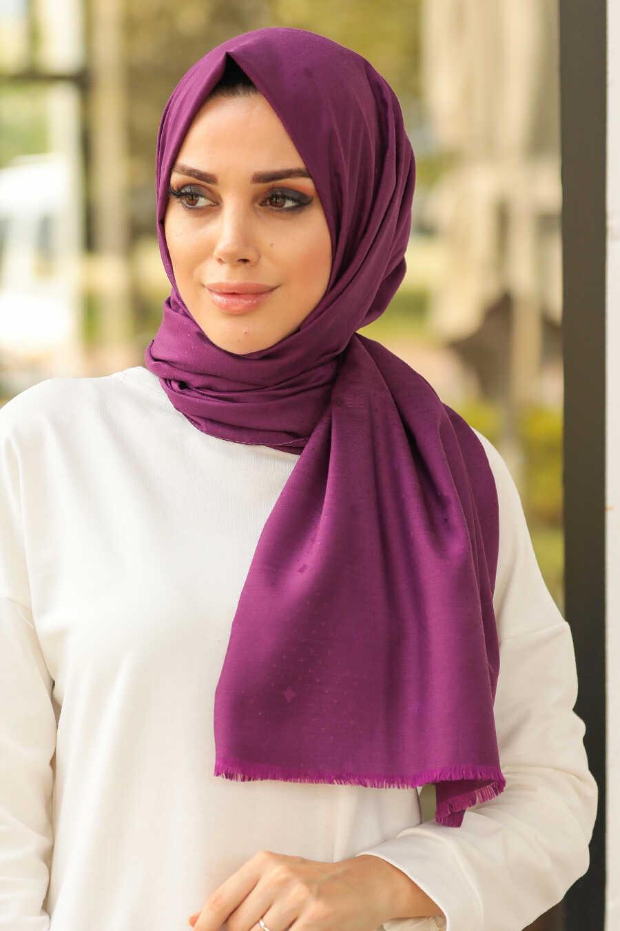 Plum Color Hijab Shawl 7529MU