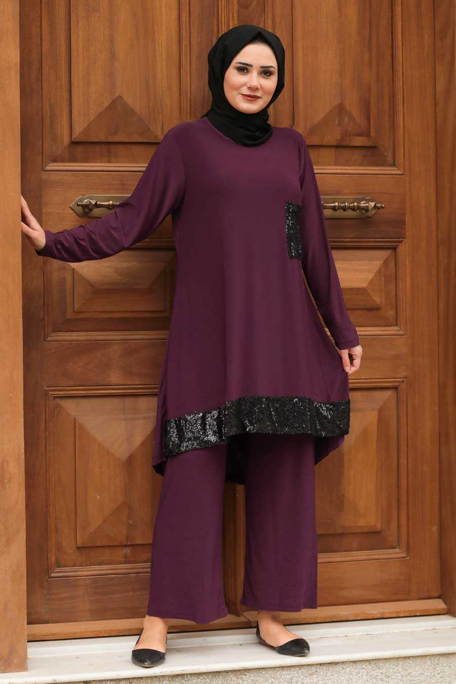 Plum Color Hijab Suit Dress 1946MU