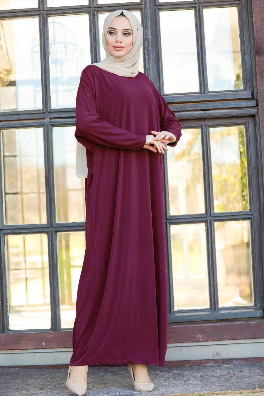 Plum Color Hijab Turkish Abaya 17801MU