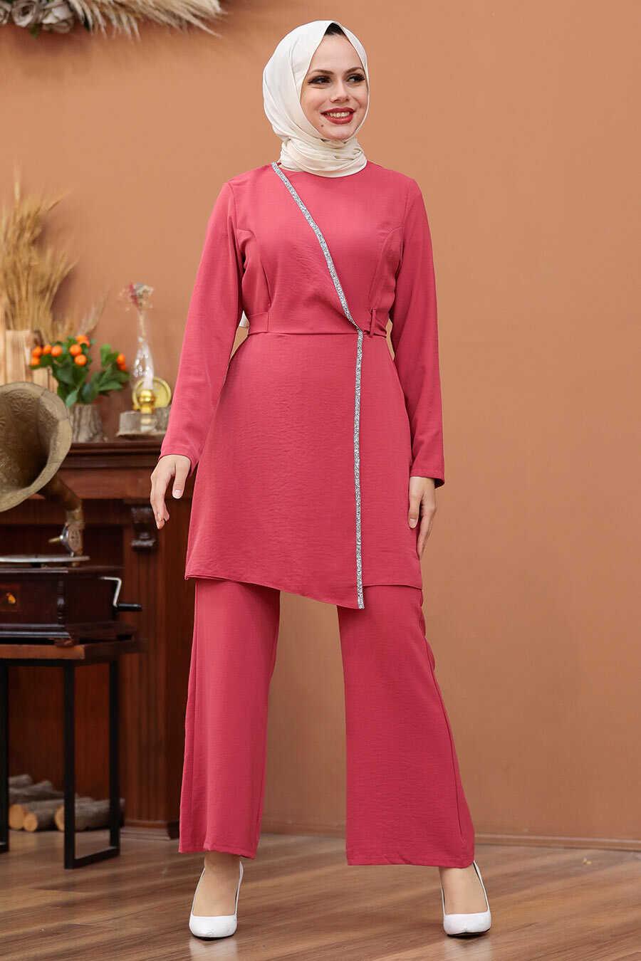 Pomegranate Flower Color Hijab Dual Suit Dress 3000NC