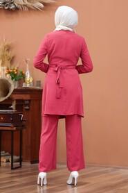 Pomegranate Flower Color Hijab Dual Suit Dress 3000NC - Thumbnail