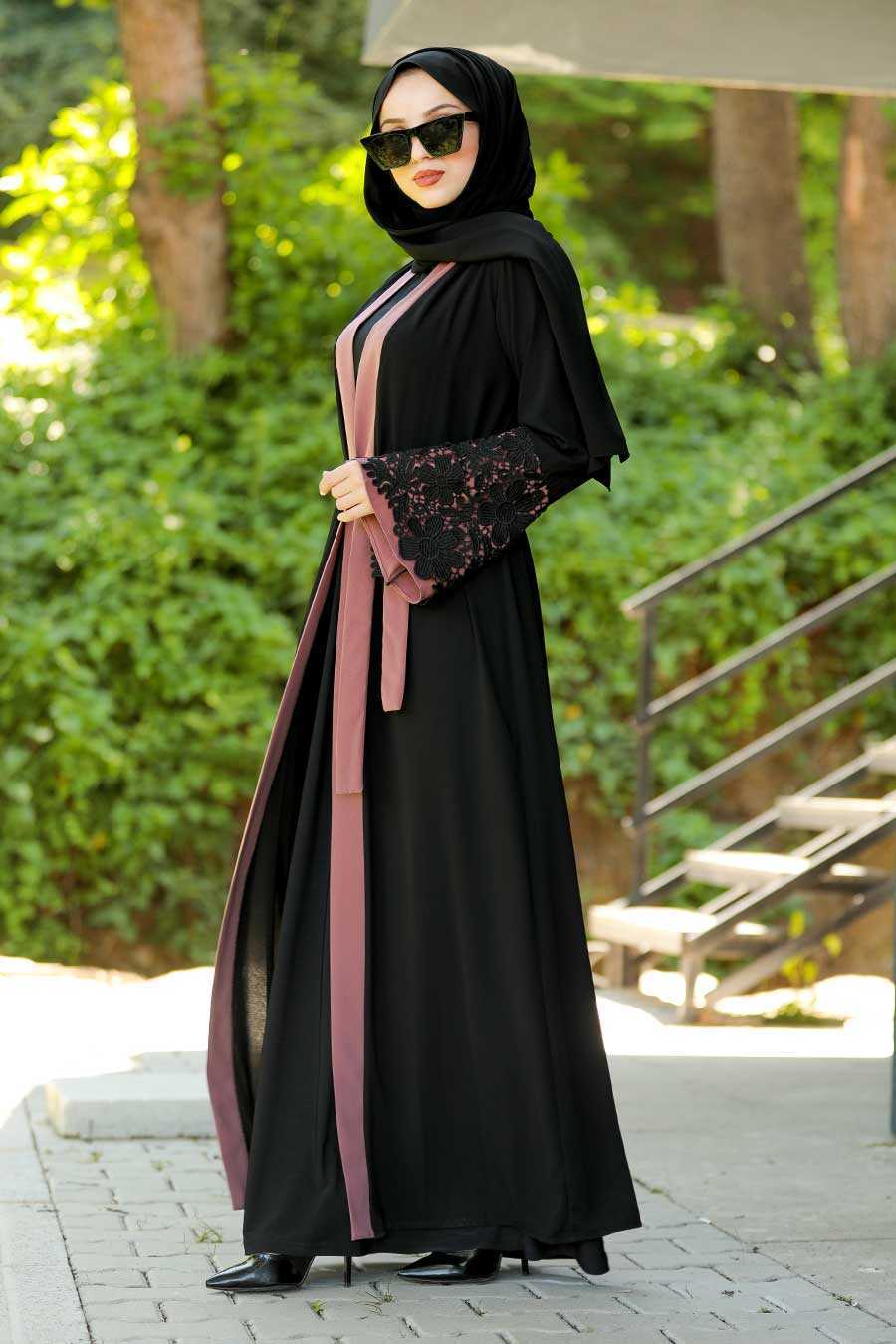 Powder Pink Hijab Abaya 55084PD