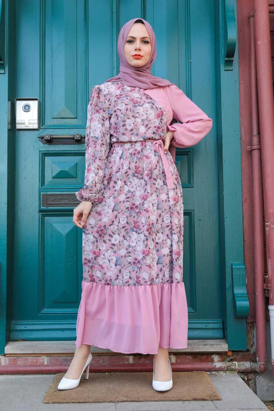 Powder Pink Hijab Dress 12328PD