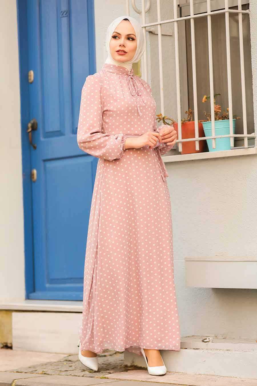 Powder Pink Hijab Dress 27909PD