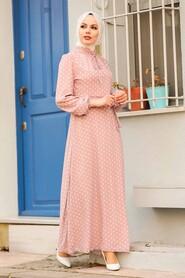 Powder Pink Hijab Dress 27909PD - Thumbnail