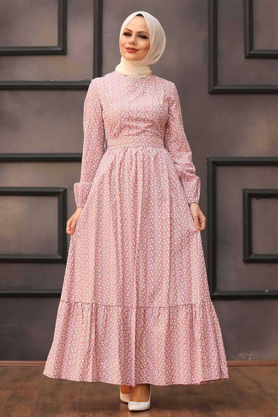 Powder Pink Hijab Dress 28480PD