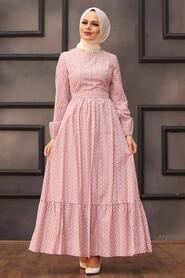 Powder Pink Hijab Dress 28480PD - Thumbnail