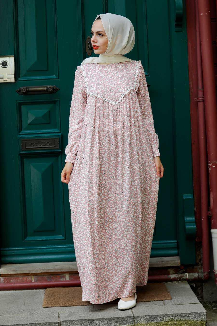 Powder Pink Hijab Dress 7660PD