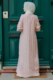 Powder Pink Hijab Dress 7660PD - Thumbnail