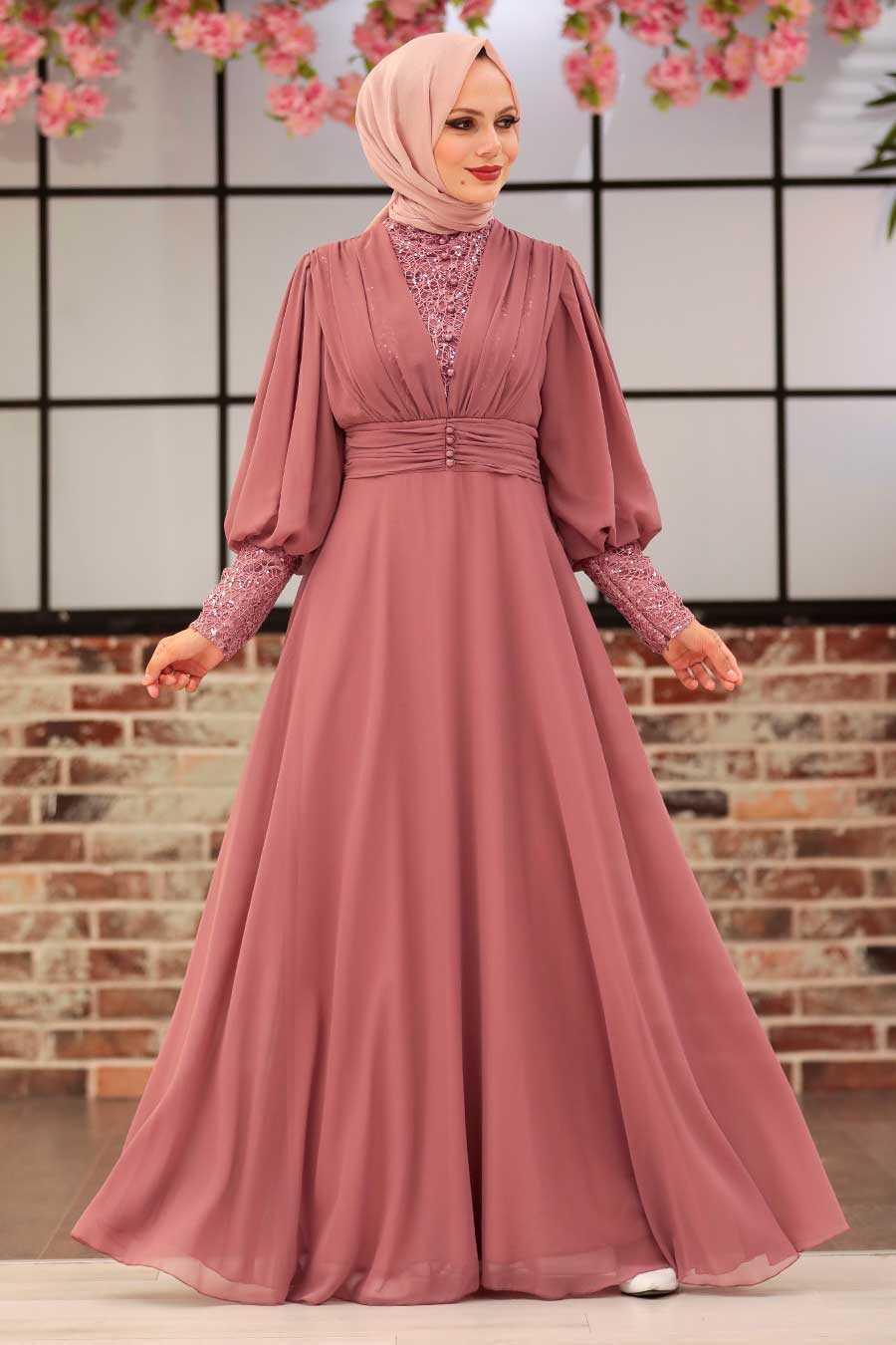 Powder Pink Hijab Evening Dress 25810PD
