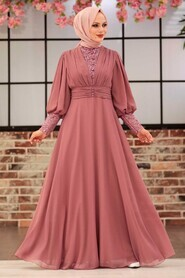 Powder Pink Hijab Evening Dress 25810PD - Thumbnail
