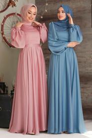 Powder Pink Hijab Evening Dress 5215PD - Thumbnail