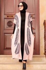 Powder Pink Hijab Knitwear Suit Dress 3183PD - Thumbnail