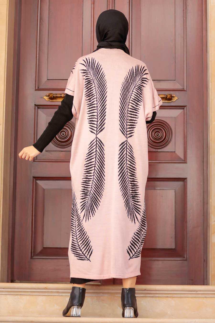 Powder Pink Hijab Knitwear Suit Dress 3183PD