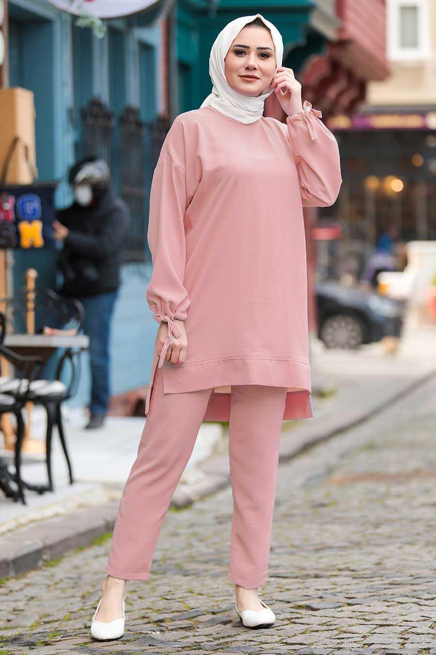 Powder Pink Hijab Suit Dress 5617PD