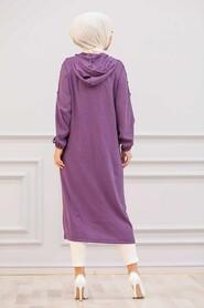 Purple Hijab Coat 14650MOR - Thumbnail
