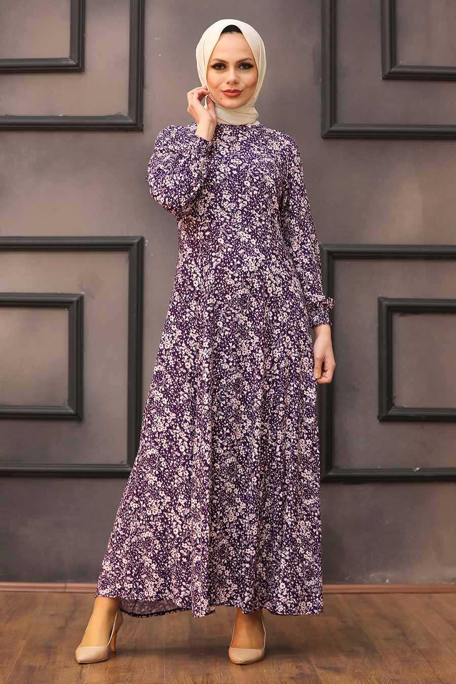 Purple Hijab Dress 27618MOR