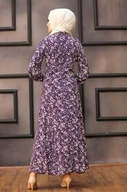 Purple Hijab Dress 27618MOR - Thumbnail