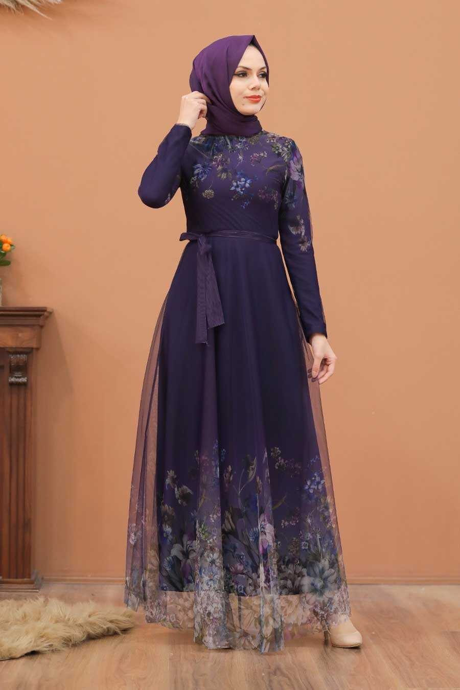 Purple Hijab Evening Dress 50171MOR