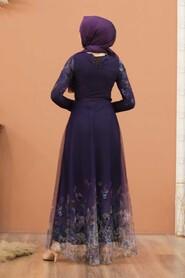 Purple Hijab Evening Dress 50171MOR - Thumbnail