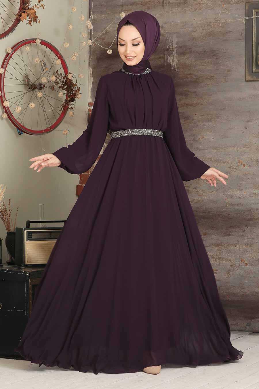Purple Hijab Evening Dress 5339MOR