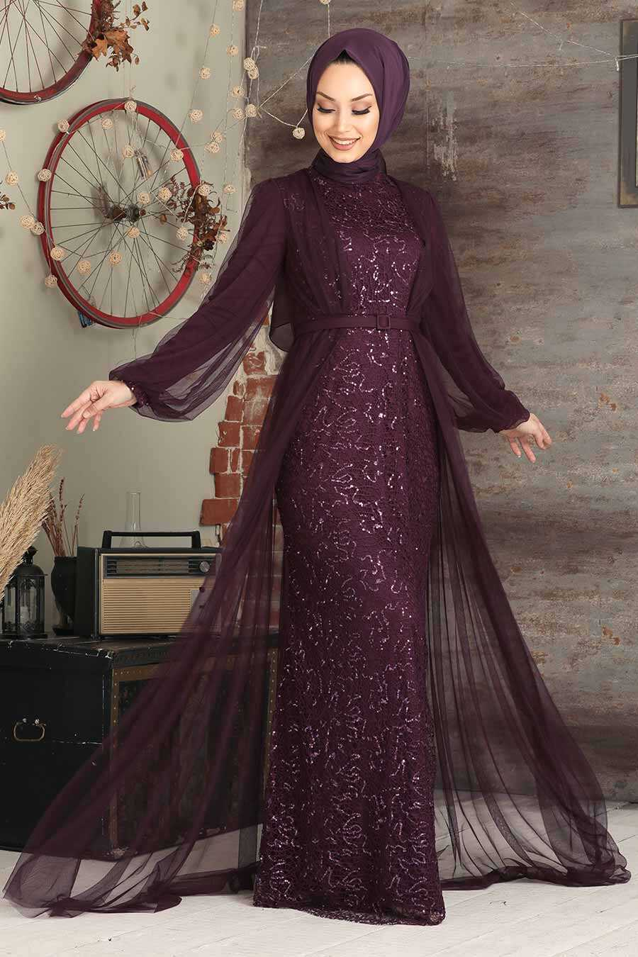 Purple Hijab Evening Dress 5383MOR