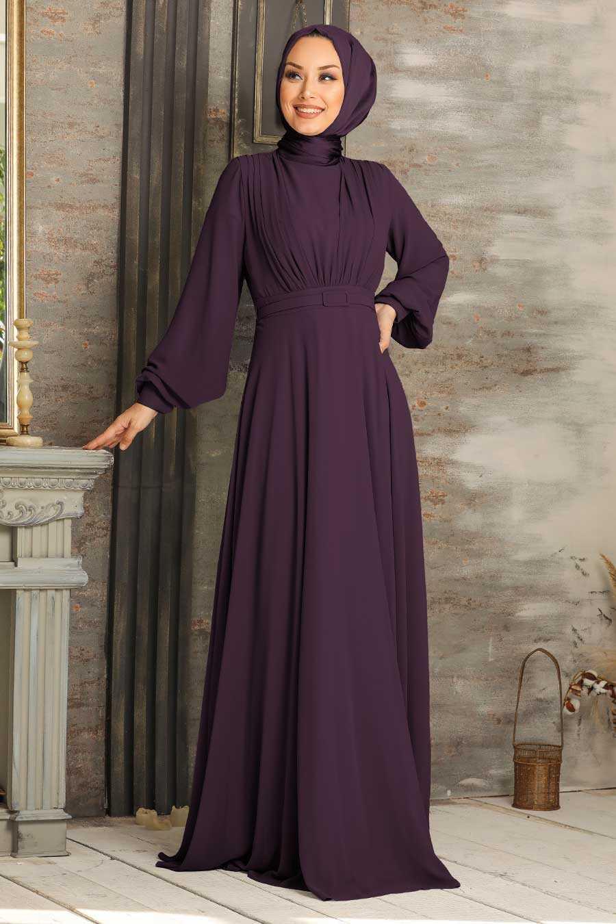 Purple Hijab Evening Dress 5422MOR