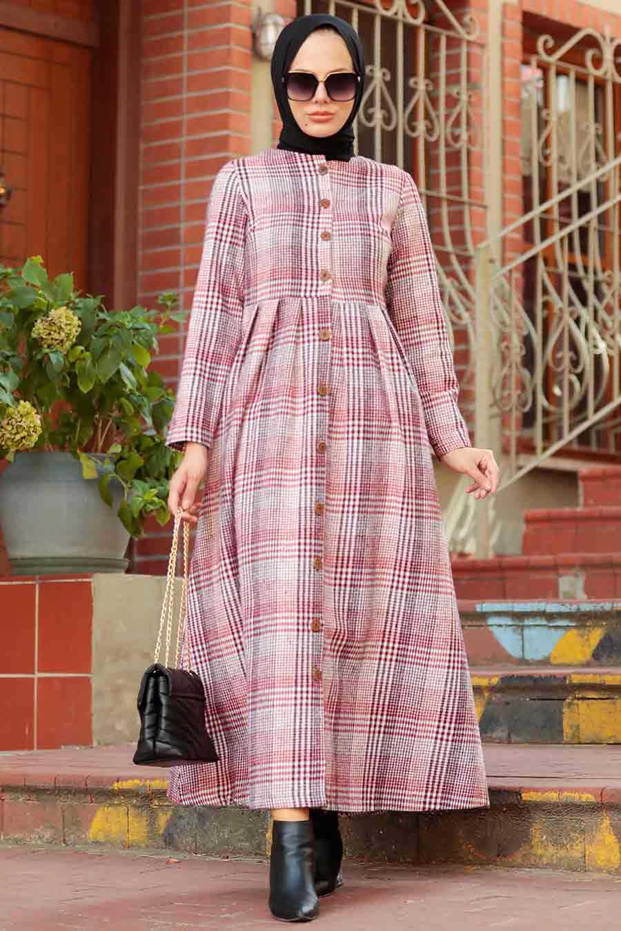 Red Hijab Coat 8941K