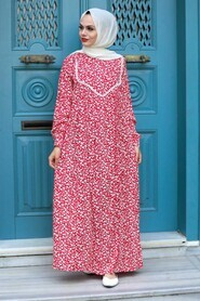 Red Hijab Dress 7660K - Thumbnail