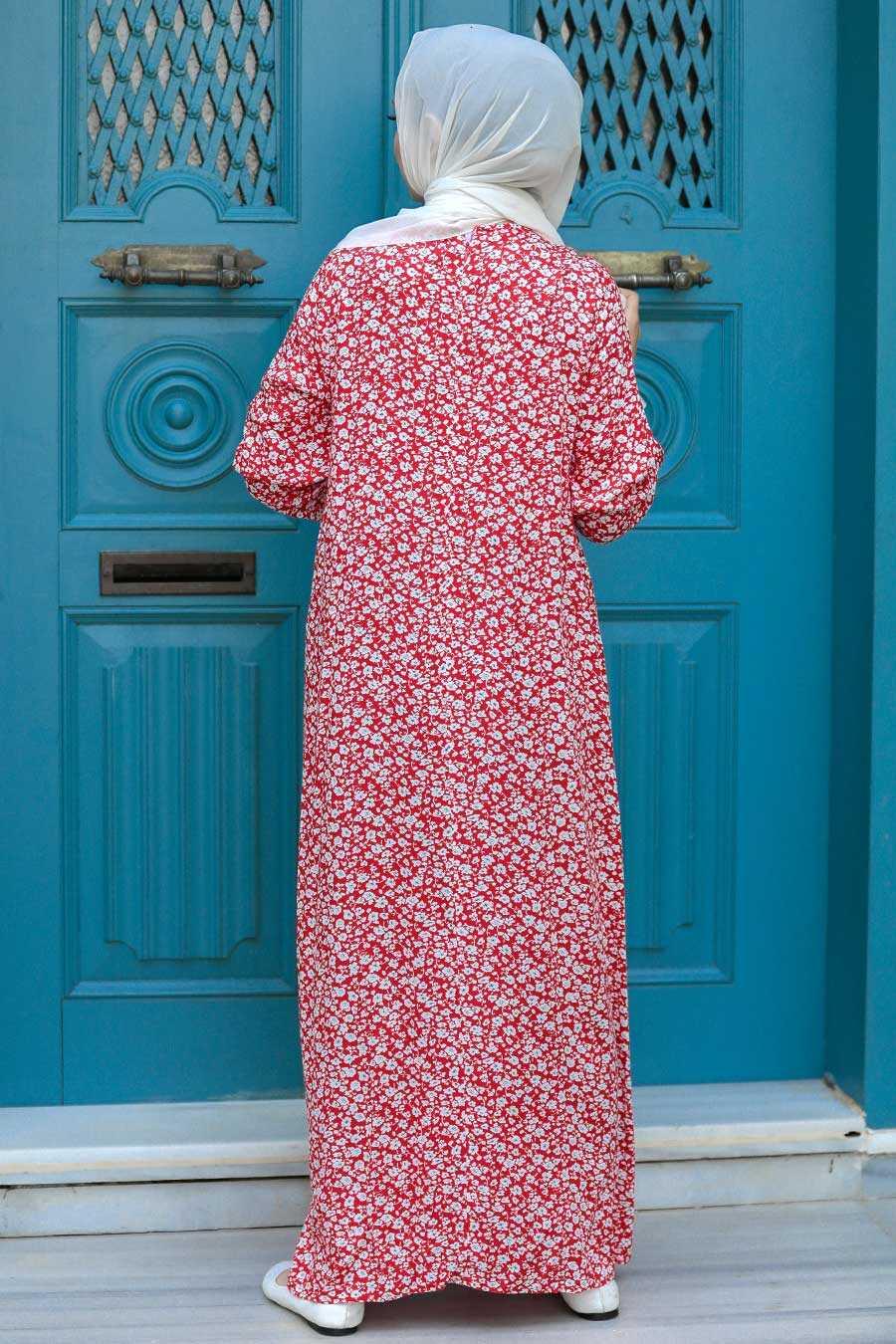 Red Hijab Dress 7660K