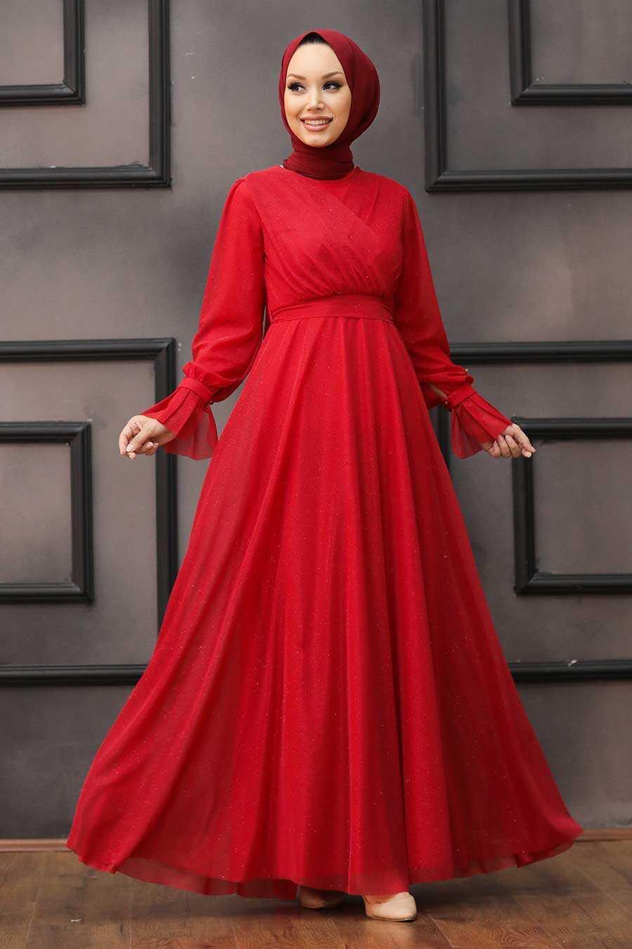 Red Hijab Evening Dress 22202K