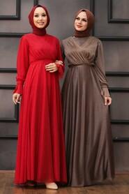 Red Hijab Evening Dress 22202K - Thumbnail