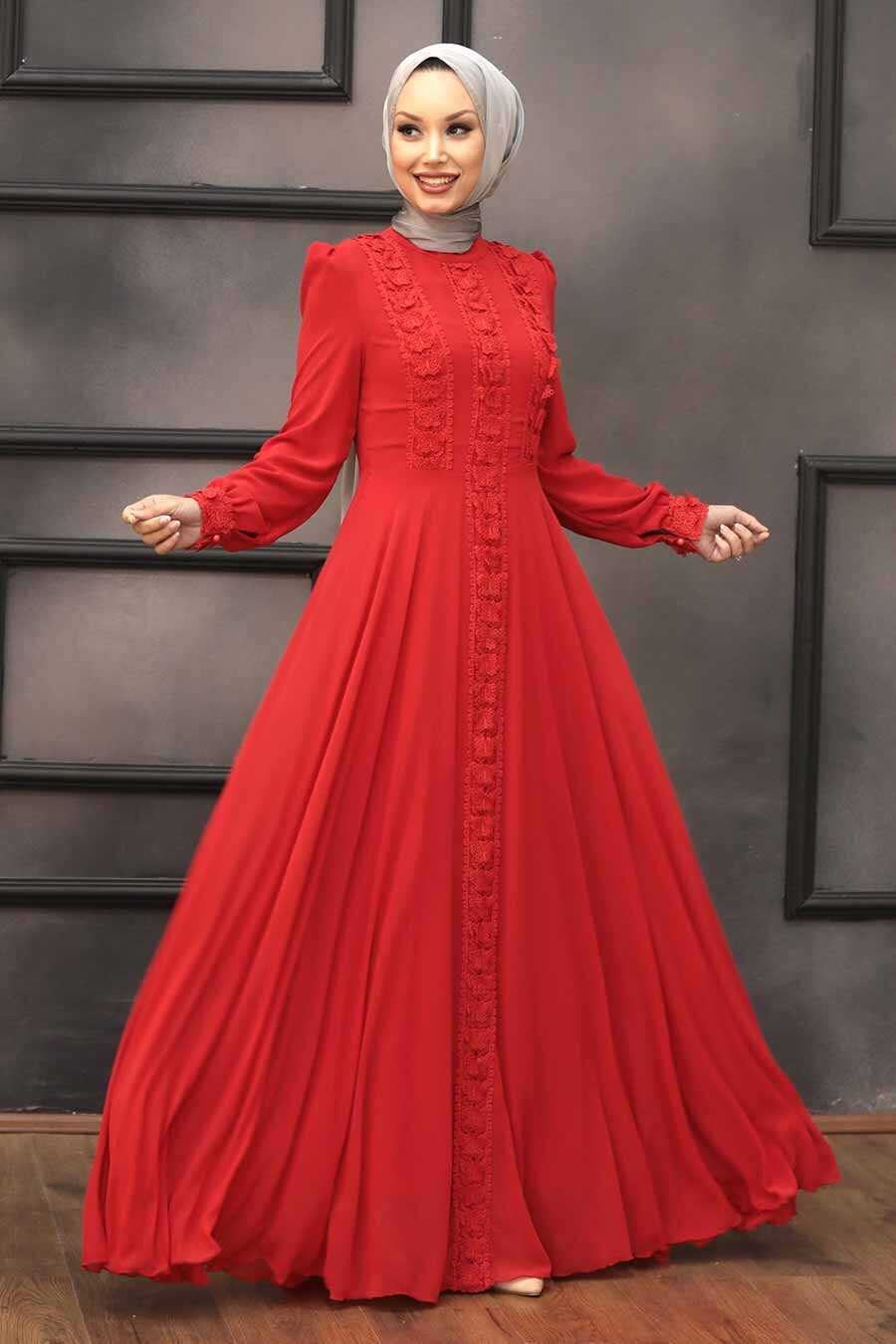 Red Hijab Evening Dress 2705K