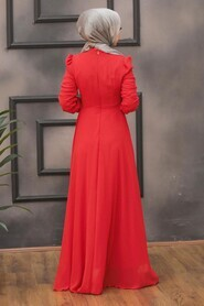 Red Hijab Evening Dress 2705K - Thumbnail