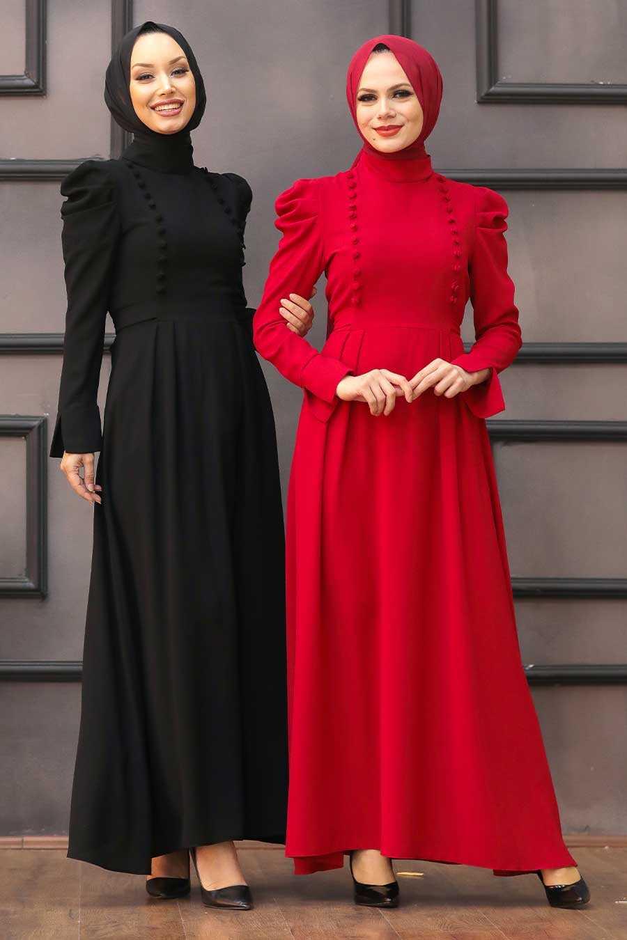 Red Hijab Evening Dress 40710K