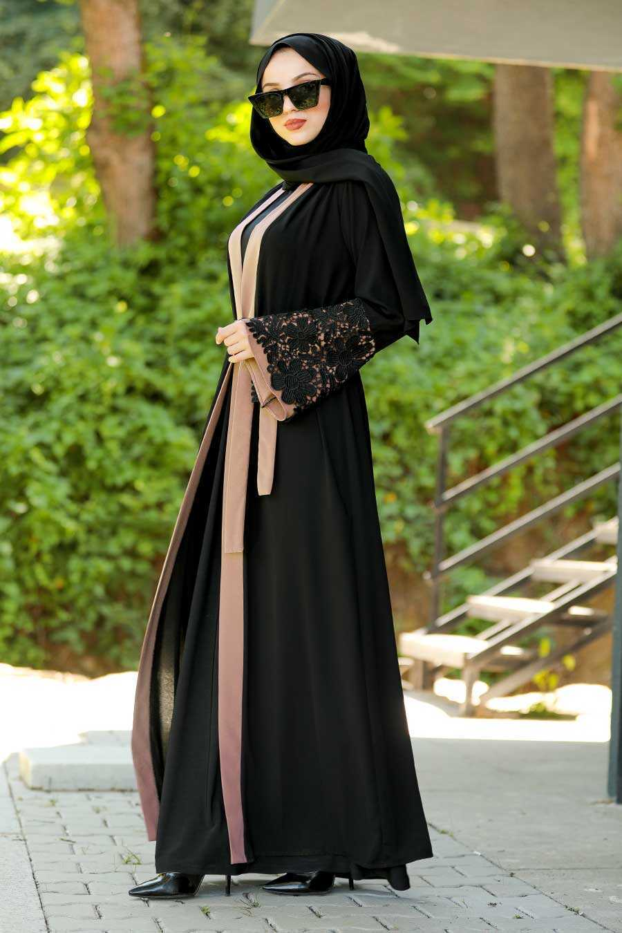 Salmon Pink Hijab Abaya 55084SMN