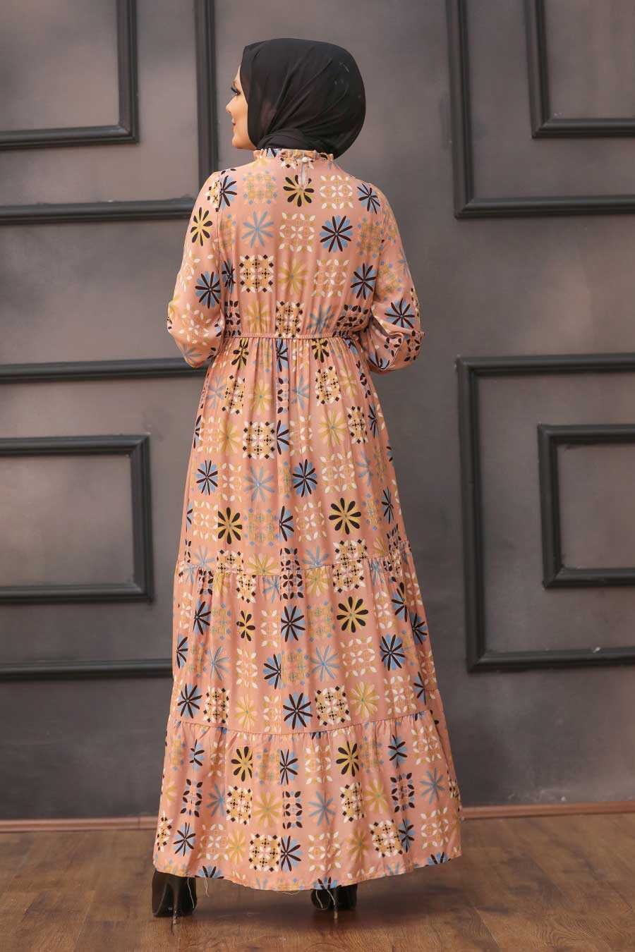 Salmon Pink Hijab Dress 31630SMN