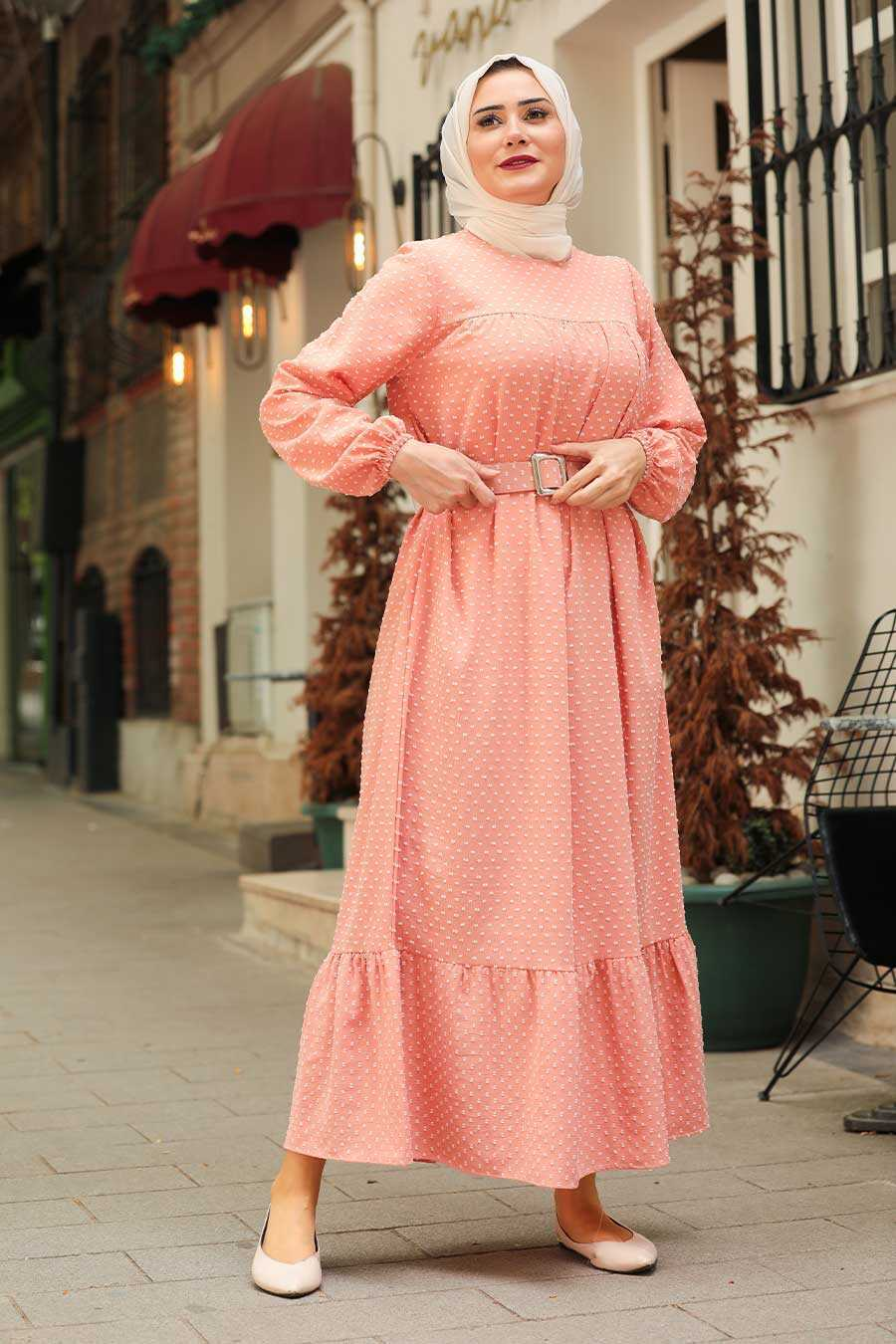 Salmon Pink Hijab Dress 3738SMN