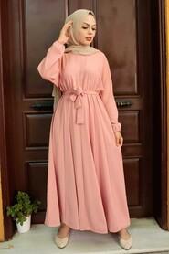 Salmon Pink Hijab Dress 76150SMN - Thumbnail