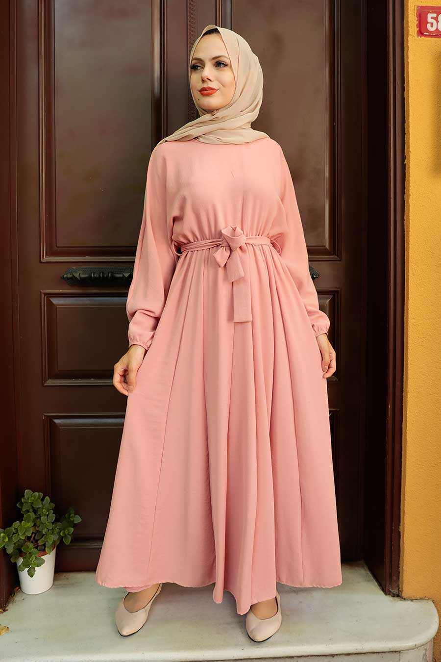 Salmon Pink Hijab Dress 76150SMN