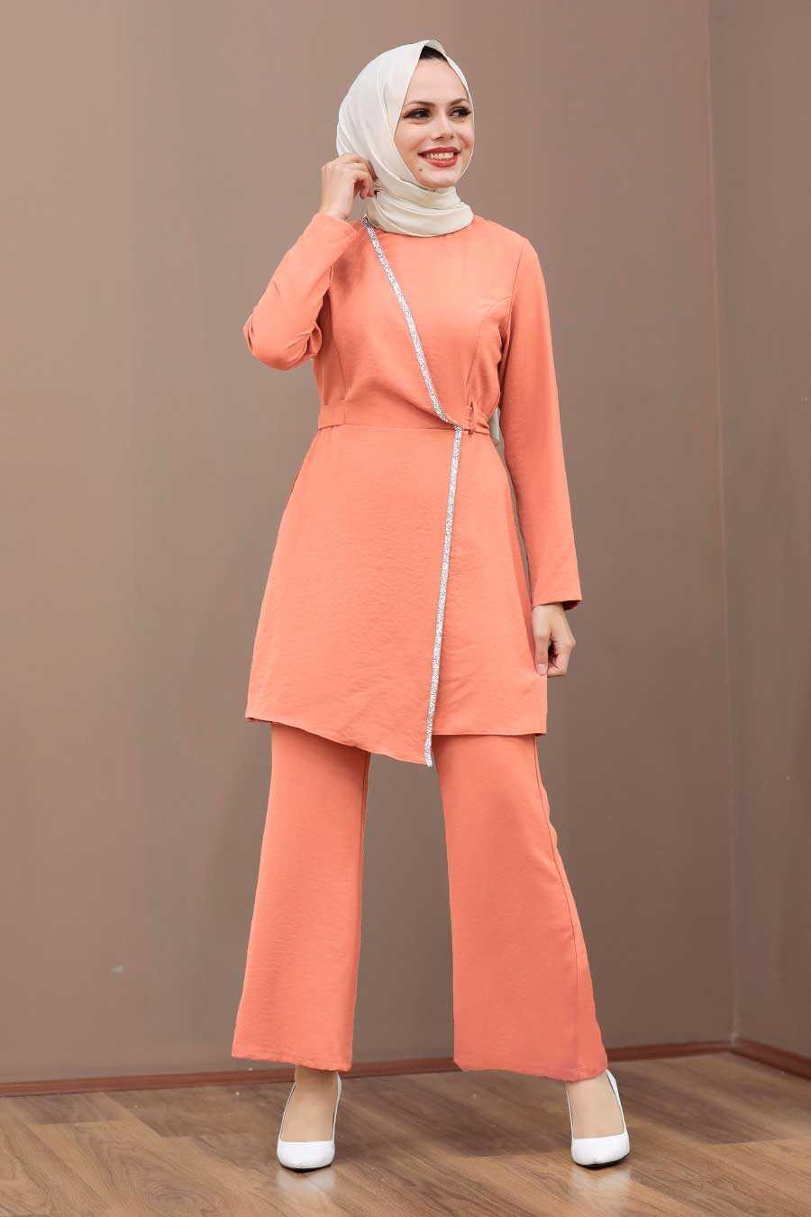 Salmon Pink Hijab Dual Suit Dress 3000SMN