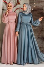 Salmon Pink Hijab Evening Dress 5215SMN - Thumbnail