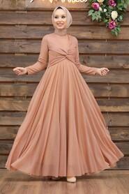 Salmon Pink Hijab Evening Dress 5397SMN - Thumbnail