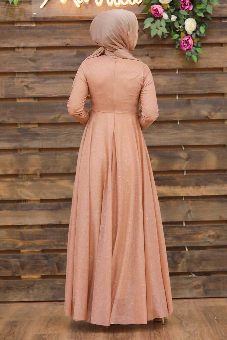 Salmon Pink Hijab Evening Dress 5397SMN