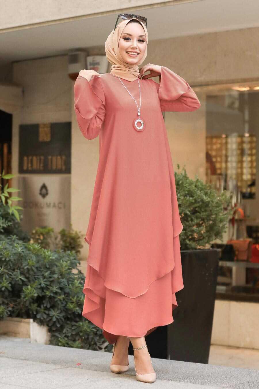Salmon Pink Hijab Tunic 33170SMN