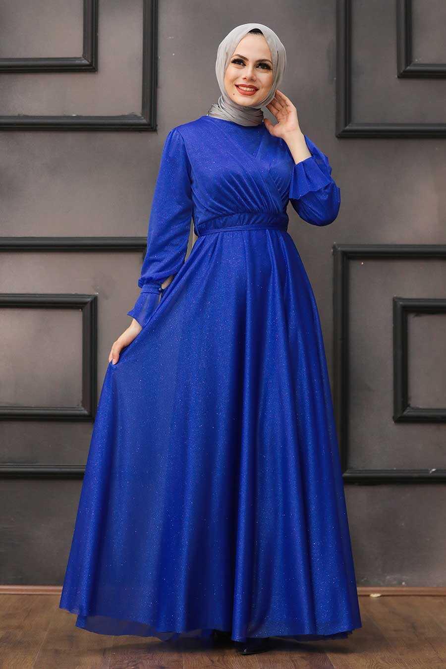 Sax Blue Hijab Evening Dress 22202SX