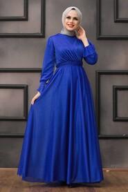 Sax Blue Hijab Evening Dress 22202SX - Thumbnail